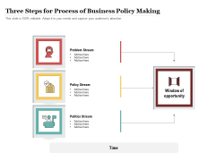 Three Steps For Process Of Business Policy Making Ppt PowerPoint Presentation Professional Influencers PDF