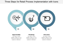 Three Steps For Retail Process Implementation With Icons Ppt Powerpoint Presentation File Graphics