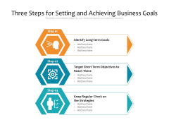 Three Steps For Setting And Achieving Business Goals Ppt PowerPoint Presentation File Design Inspiration PDF