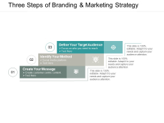 Three Steps Of Branding And Marketing Strategy Ppt PowerPoint Presentation File Clipart
