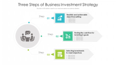 Three Steps Of Business Investment Strategy Ppt Visual Aids Show PDF