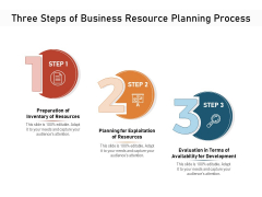 Three Steps Of Business Resource Planning Process Ppt PowerPoint Presentation File Graphic Images PDF