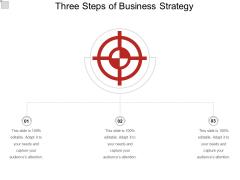 Three Steps Of Business Strategy Ppt PowerPoint Presentation Slides Slideshow PDF