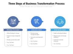 Three Steps Of Business Transformation Process Ppt PowerPoint Presentation Icon Graphics Template