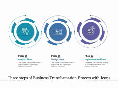 Three Steps Of Business Transformation Process With Icons Ppt PowerPoint Presentation Outline Graphic Tips PDF