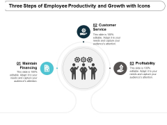 three steps of employee productivity and growth with icons ppt powerpoint presentation file graphics pictures