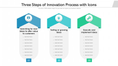 Three Steps Of Innovation Process With Icons Ppt File Slideshow PDF