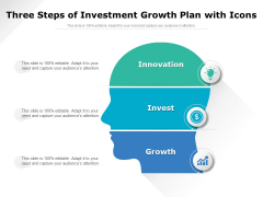 Three Steps Of Investment Growth Plan With Icons Ppt PowerPoint Presentation Gallery Example PDF