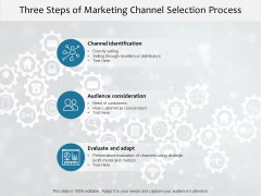 Three Steps Of Marketing Channel Selection Process Ppt PowerPoint Presentation File Good