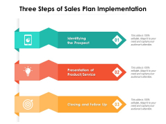 Three Steps Of Sales Plan Implementation Ppt PowerPoint Presentation Outline Diagrams PDF