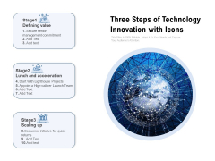 Three Steps Of Technology Innovation With Icons Ppt PowerPoint Presentation Gallery Vector PDF