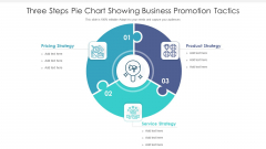 Three Steps Pie Chart Showing Business Promotion Tactics Ppt PowerPoint Presentation Icon Deck PDF