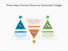 Three Steps Process Shown By Horizontal Triangle Ppt PowerPoint Presentation File Show PDF