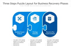 Three Steps Puzzle Layout For Business Recovery Phases Ppt PowerPoint Presentation File Format Ideas PDF