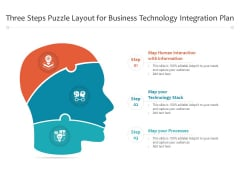 Three Steps Puzzle Layout For Business Technology Integration Plan Ppt PowerPoint Presentation File Graphics PDF