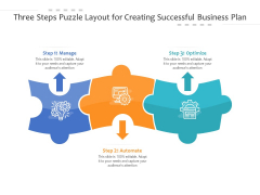 Three Steps Puzzle Layout For Creating Successful Business Plan Ppt PowerPoint Presentation Gallery Demonstration PDF