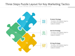 Three Steps Puzzle Layout For Key Marketing Tactics Ppt PowerPoint Presentation File Deck PDF