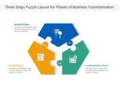 Three Steps Puzzle Layout For Phases Of Business Transformation Ppt PowerPoint Presentation File Slideshow PDF