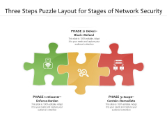 Three Steps Puzzle Layout For Stages Of Network Security Ppt PowerPoint Presentation File Vector PDF