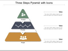 Three Steps Pyramid With Icons Ppt PowerPoint Presentation Gallery Grid