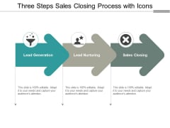 Three Steps Sales Closing Process With Icons Ppt PowerPoint Presentation Professional Graphics Template