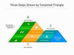 Three Steps Shown By Conjoined Triangle Ppt PowerPoint Presentation File Example PDF