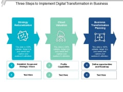 Three Steps To Implement Digital Transformation In Business Ppt PowerPoint Presentation Infographics Shapes