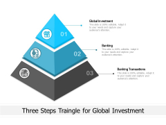 Three Steps Traingle For Global Investment Ppt PowerPoint Presentation Gallery Styles PDF