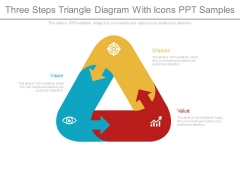 Three Steps Triangle Diagram With Icons Ppt Samples
