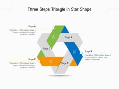Three Steps Triangle In Star Shape Ppt PowerPoint Presentation Gallery Clipart PDF