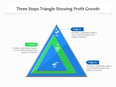Three Steps Triangle Showing Profit Growth Ppt PowerPoint Presentation File Graphic Tips PDF
