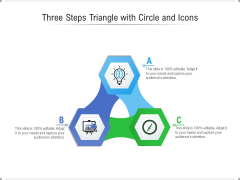 Three Steps Triangle With Circle And Icons Ppt PowerPoint Presentation Gallery Graphics PDF
