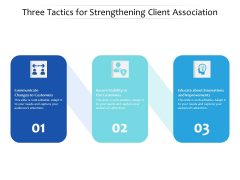 Three Tactics For Strengthening Client Association Ppt PowerPoint Presentation Sample PDF