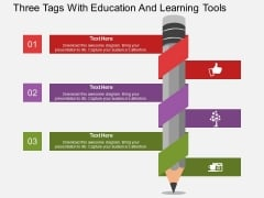 Three Tags With Education And Learning Tools Powerpoint Template