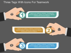 Three Tags With Icons For Teamwork Powerpoint Template