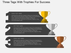Three Tags With Trophies For Success Powerpoint Templates