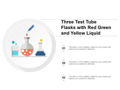 Three Test Tube Flasks With Red Green And Yellow Liquid Ppt PowerPoint Presentation Icon Slides