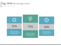 Three Text Boxes With Percentage Values And Icons Powerpoint Slides