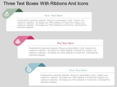 Three Text Boxes With Ribbons And Icons Powerpoint Templates
