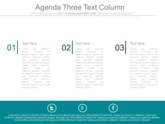 Three Text Columns For Business Agenda Powerpoint Slides