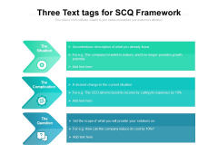 Three Text Tags For SCQ Framework Ppt PowerPoint Presentation File Slideshow PDF
