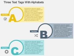 Three Text Tags With Alphabets Powerpoint Templates