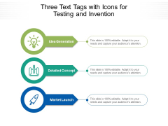 Three Text Tags With Icons For Testing And Invention Ppt PowerPoint Presentation Portfolio Outline PDF