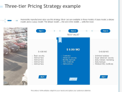 Three Tier Pricing Strategy Example Ppt PowerPoint Presentation Styles Themes PDF