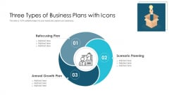 Three Types Of Business Plans With Icons Ppt PowerPoint Presentation Gallery Layout Ideas PDF