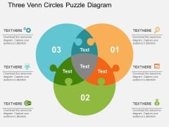 Three Venn Circles Puzzle Diagram Powerpoint Templates