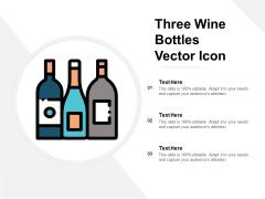 Three Wine Bottles Vector Icon Ppt Powerpoint Presentation Layouts Ideas