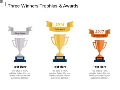 Three Winners Trophies And Awards Ppt PowerPoint Presentation Show Layout