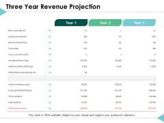 Three Year Revenue Projection Planning Ppt PowerPoint Presentation Model Show