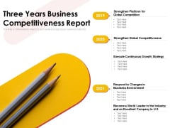 Three Years Business Competitiveness Report Ppt PowerPoint Presentation Show Slides